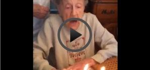 102 year old blows out birthday candles. Watch what happens next!