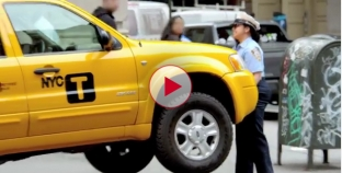 New Yorkers pranked by super strong heavy lifting meter maid.