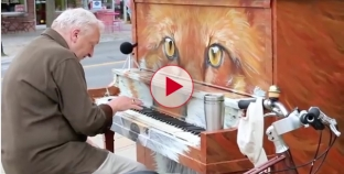 Wow wait till you hear this man sing and play the piano on the street.